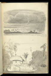 'A Remarkable Water Spout. Seen by me. Sept 1. Dum Dum, 1833'.